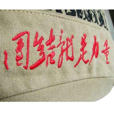 豆鼓眼 团结就是力量毛主席系列包包双肩包复古包爱国风学生书包 棕色