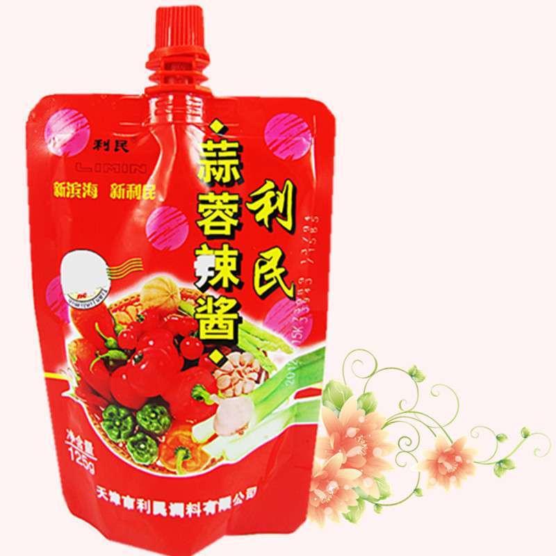 美食名牌【利民】蒜蓉香辣酱 烧烤酱调料 立体袋(125克)热卖