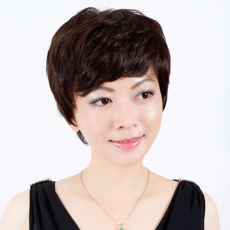 玫瑰雨 斜刘海微卷女士中老年假发短发女 高端手织真发短发假发套图片