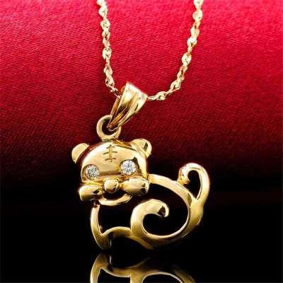 梦克拉 18k金钻石吊坠 可爱卡通小老虎造型 可爱虎