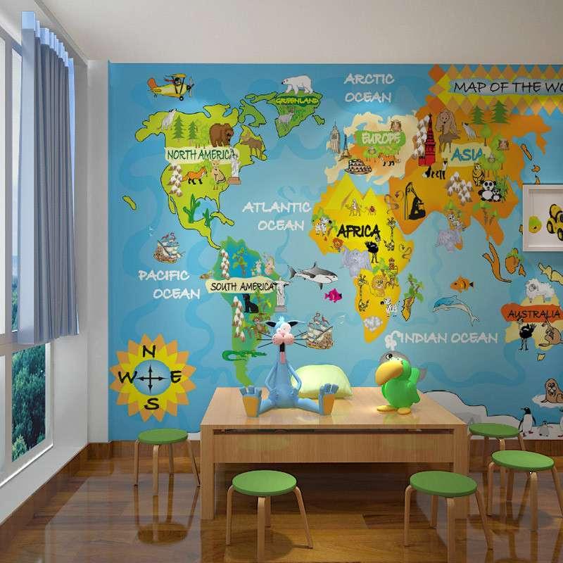 【乐嘉墙纸/墙布】乐嘉大型壁画 卡通世界地图m529-1