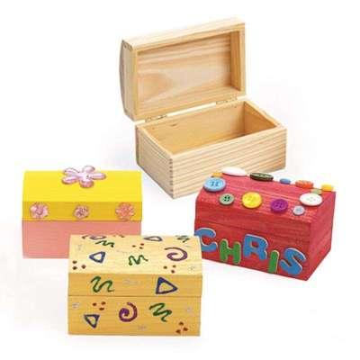 dms大贸商 木盒 diy 手绘百宝箱 手工彩绘玩具 白模上色 4个-ex10118
