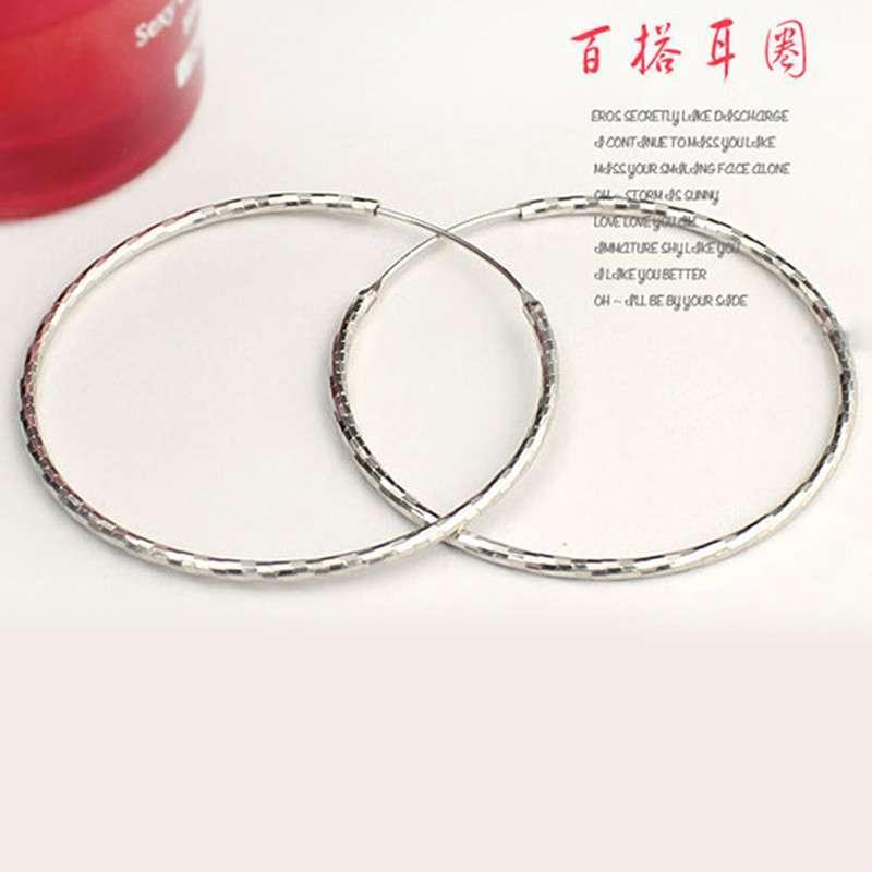 【绚丽姿】车花耳环 925纯银大圆圈耳环高贵典雅4cmx1mm空心耳圈