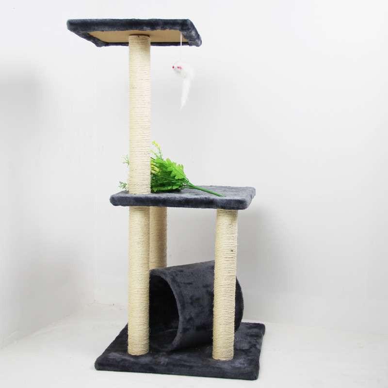 三层躲猫猫灰色系猫爬架猫跳台 带滚筒猫玩具 独立纸箱包装猫窝猫屋猫