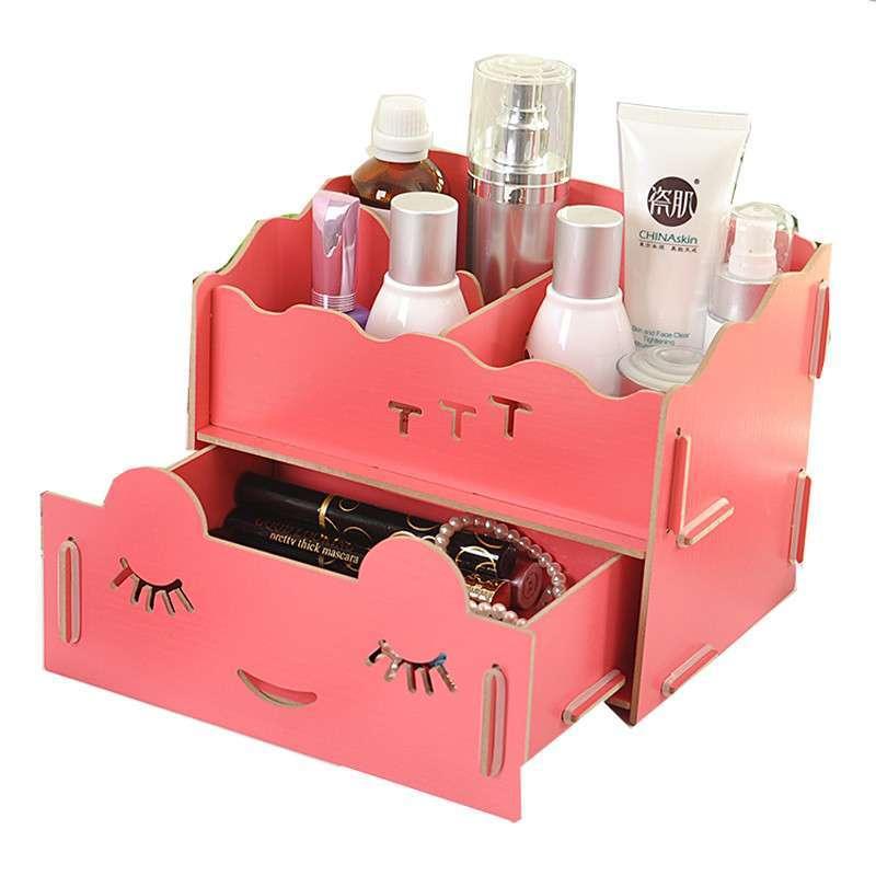 继红diy桌面笑脸可爱 木质收纳盒/化妆盒 桌面置物盒 (随机色)高清