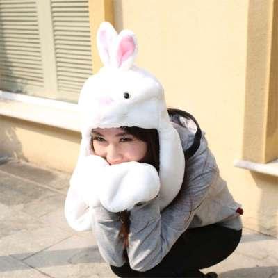 依吉饰 可爱卡通小白兔帽子 女士毛绒兔子帽 耳朵冬季