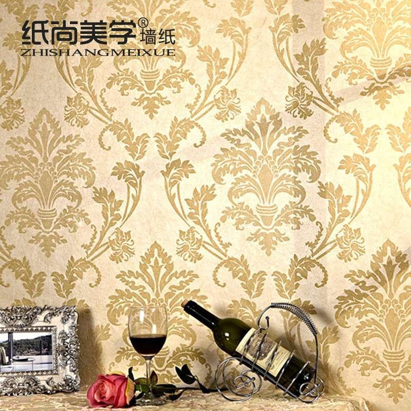 q纸尚美学无纺布墙纸 欧式简约 鎏金工艺 x62300背景墙客厅壁纸高清