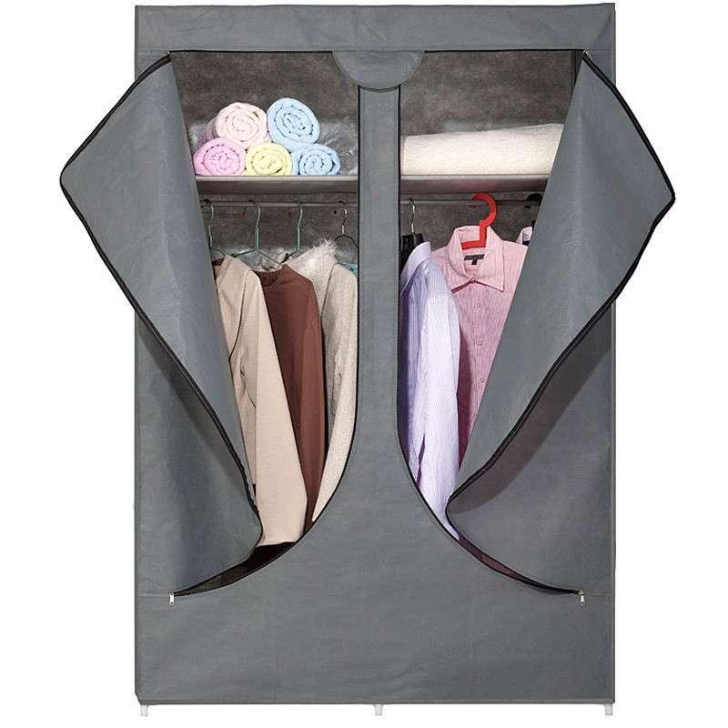 柜品世家 简易布衣柜 拉链式双开门布衣橱 紫色高清实拍图