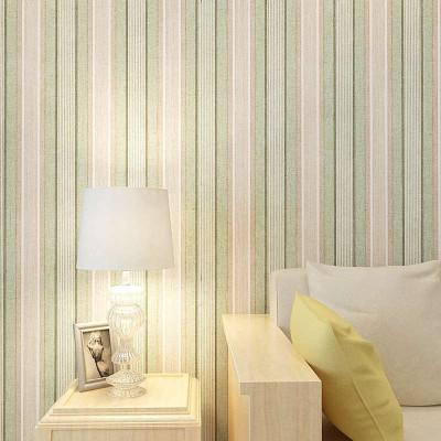 欧式怀旧复古纯纸墙纸美式乡村做旧竖条纹卧室