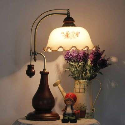 老上海复古 英伦风格 桦木 创意 可调光卧室床头台灯t018a田园灯罩图片