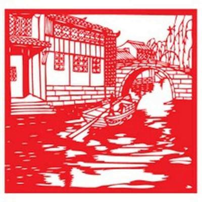 个性一百 江南人家小桥流水cai2901剪纸窗花马年门贴风景玻璃贴纸客厅