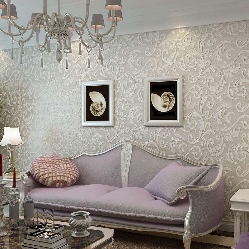 欧式莨苕叶壁纸立体水晶客厅沙发电视背景墙