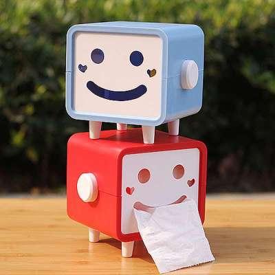 邻舍 可爱笑脸纸巾盒 创意纸巾抽 卡通卷纸盒 抽纸盒