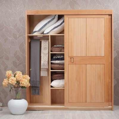 青岛一木家具 实木衣柜榉木衣橱宜家推拉门衣柜 移门衣柜整体衣柜