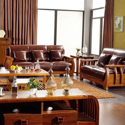 汤美斯家具 现代中式乌金木色 实木沙发 简约客厅组合皮艺沙发 乌金木