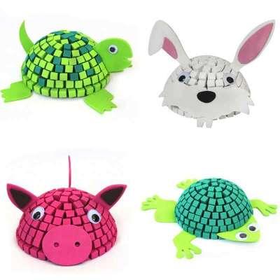 melon 3d立体拼图马赛克动物 创意diy手工益智玩具 婴幼儿园教具