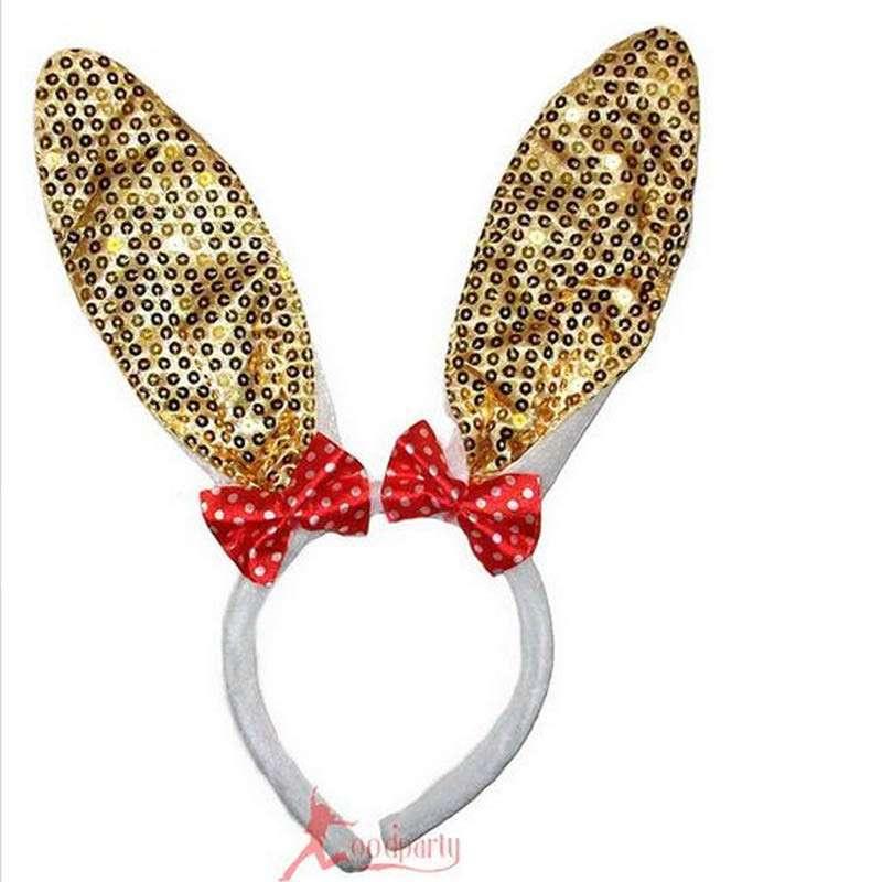 化妆舞会 动物头饰 道具 小兔子耳朵 头箍发箍 亮片兔子发卡 金色高清