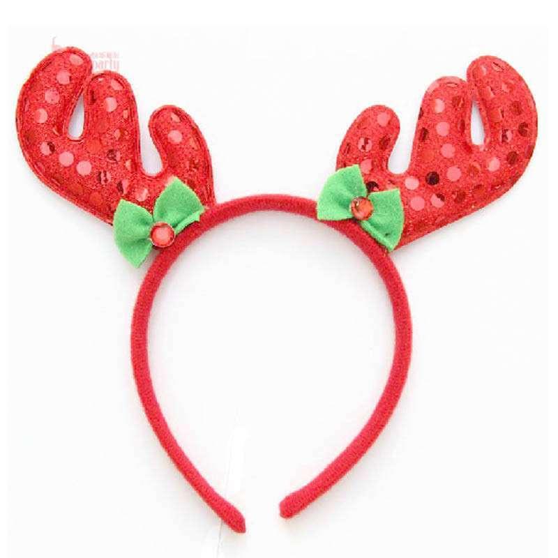 圣诞节头饰 圣诞节鹿角 发箍头箍 龙角发卡 绒布亮片鹿角 红色高清