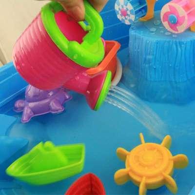 新款海盗船沙滩桌沙水桌沙滩宝宝戏水玩具儿童玩沙子玩水工具套装