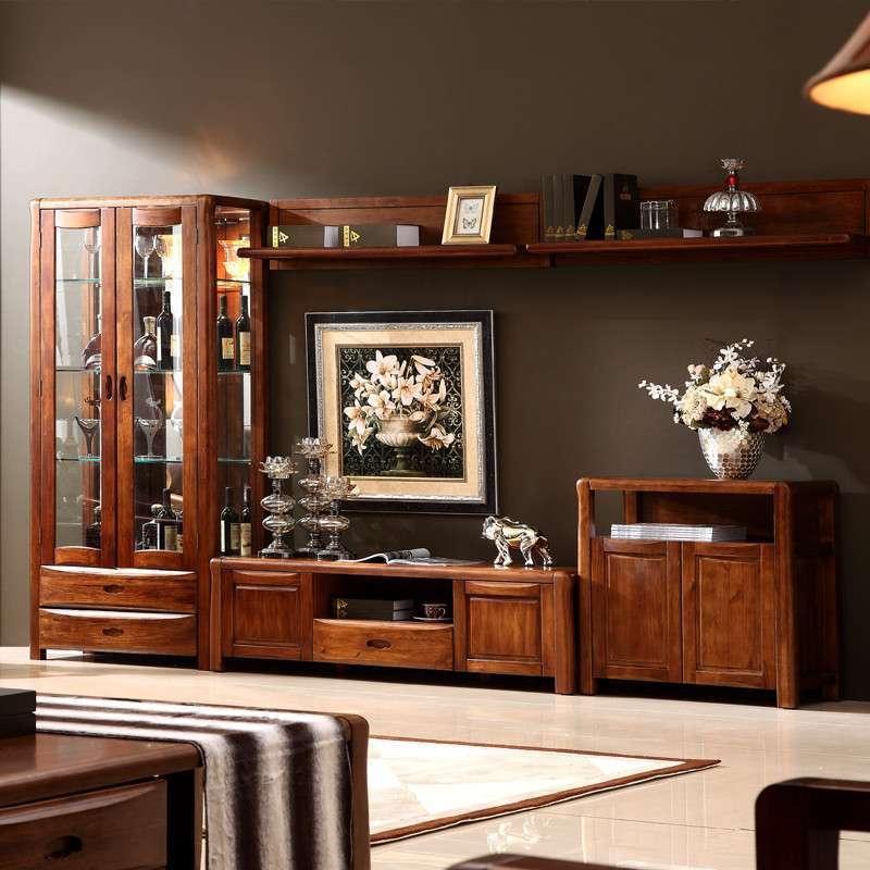 惠宜亚花梨全实木 现代中式餐厅酒柜柜子储物柜酒架装饰柜角柜 图片色