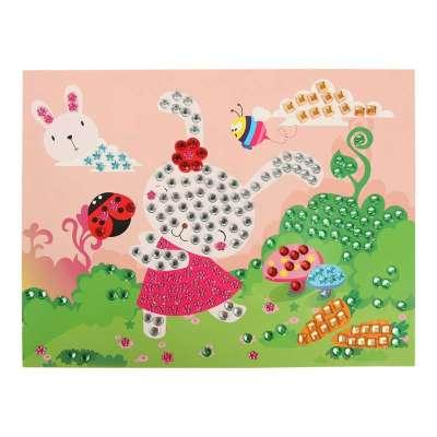 大贸商 eva贴画钻石画 儿童创意diy手工制作水晶马赛克贴画 小白兔款