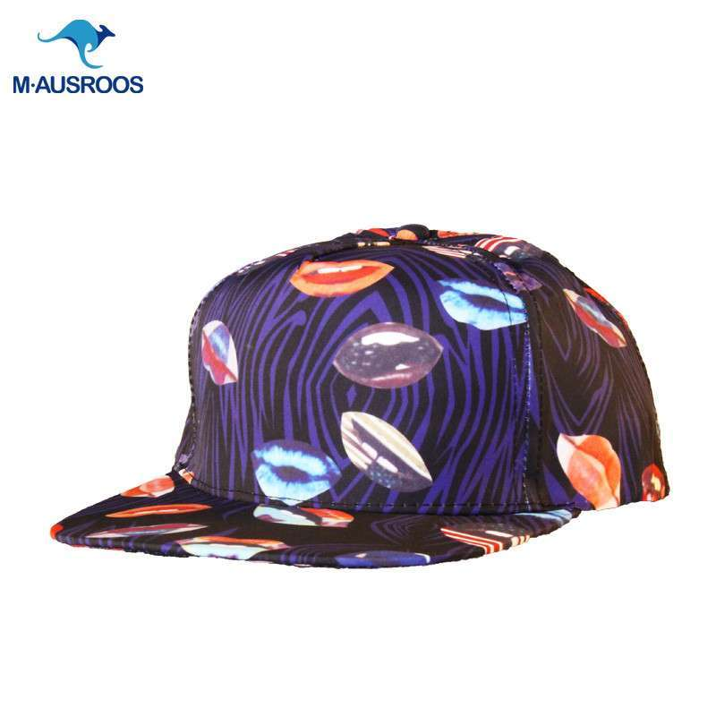 韩国嘴唇涂鸦斑马纹休闲平沿街舞嘻哈棒球帽子鸭舌帽