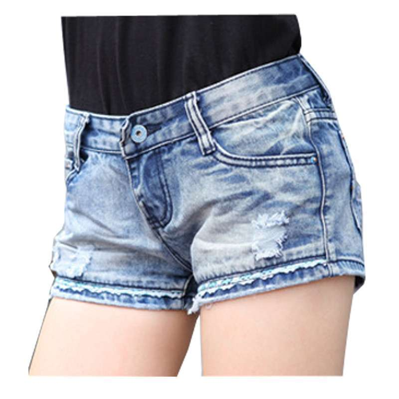 2014夏装新款时尚牛仔短裤女式韩版小花边中腰热裤