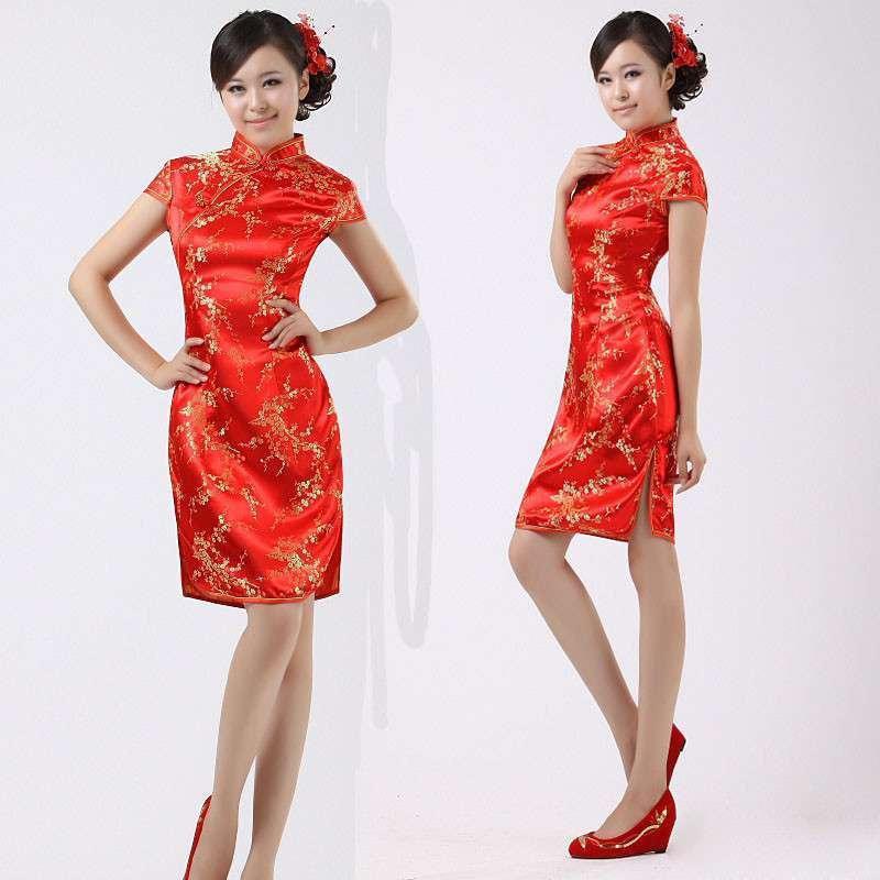 复古中式新娘礼服喜服古装结婚敬酒服红色旗袍龙凤褂图片