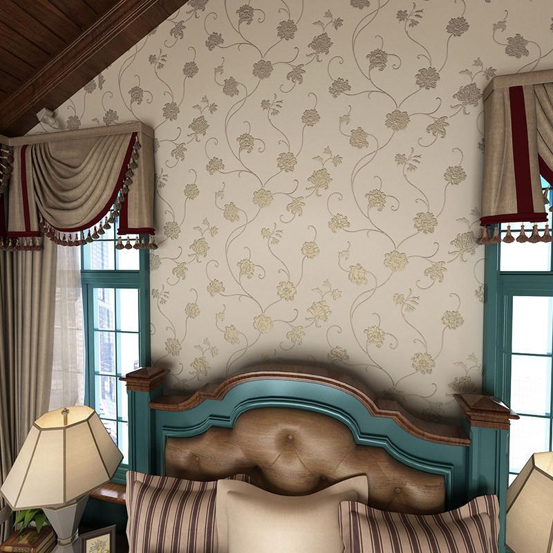 米素无纺布壁纸 卧室客厅欧式田园墙纸 温馨电视背景墙纸 欧罗拉