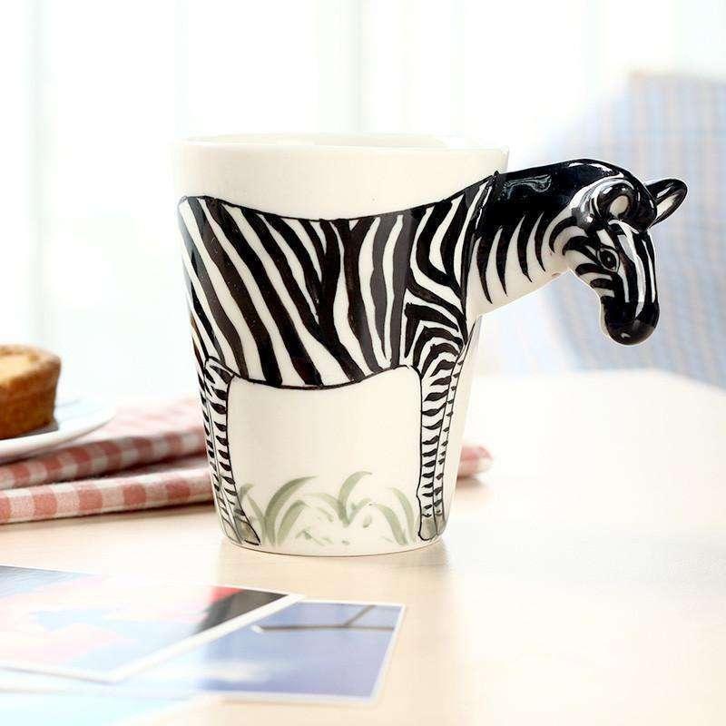 趣玩 手工创意纯手绘3d立体陶瓷动物杯 斑马款