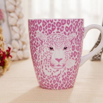 豹纹杯子 创意陶瓷杯马克杯早餐杯可爱粉色 粉红色豹纹