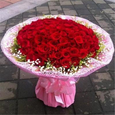鲜花99朵精美红玫瑰鲜花花束