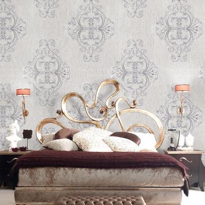 米素墙纸 pvc压纹壁纸 欧式大马士革卧室客厅背景墙纸 墨提斯