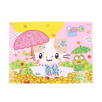 大贸商 eva贴画钻石画 儿童创意diy手工制作水晶马赛克贴画 带伞小猫