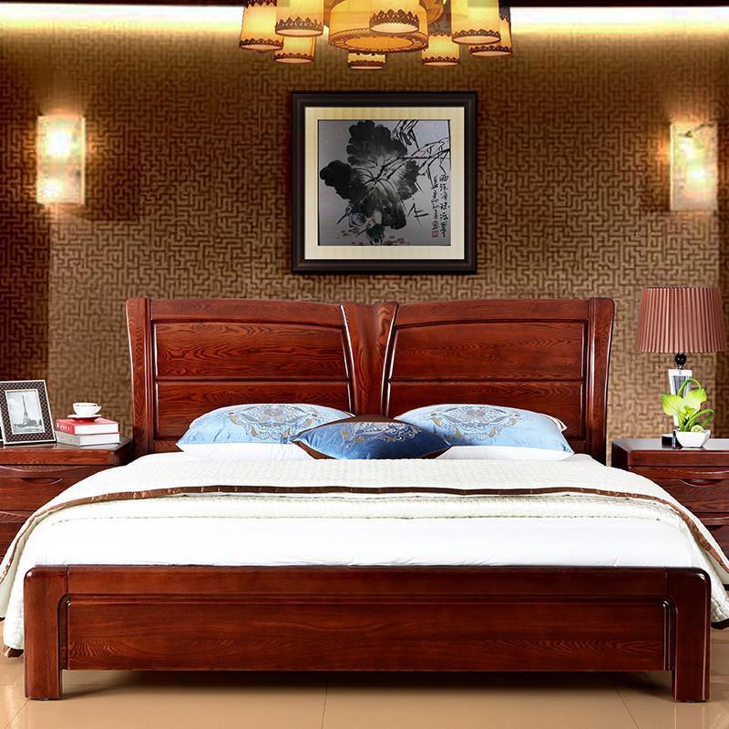 8米全实木床 水曲柳床 实木床头 床架 卧室婚床 低箱空体