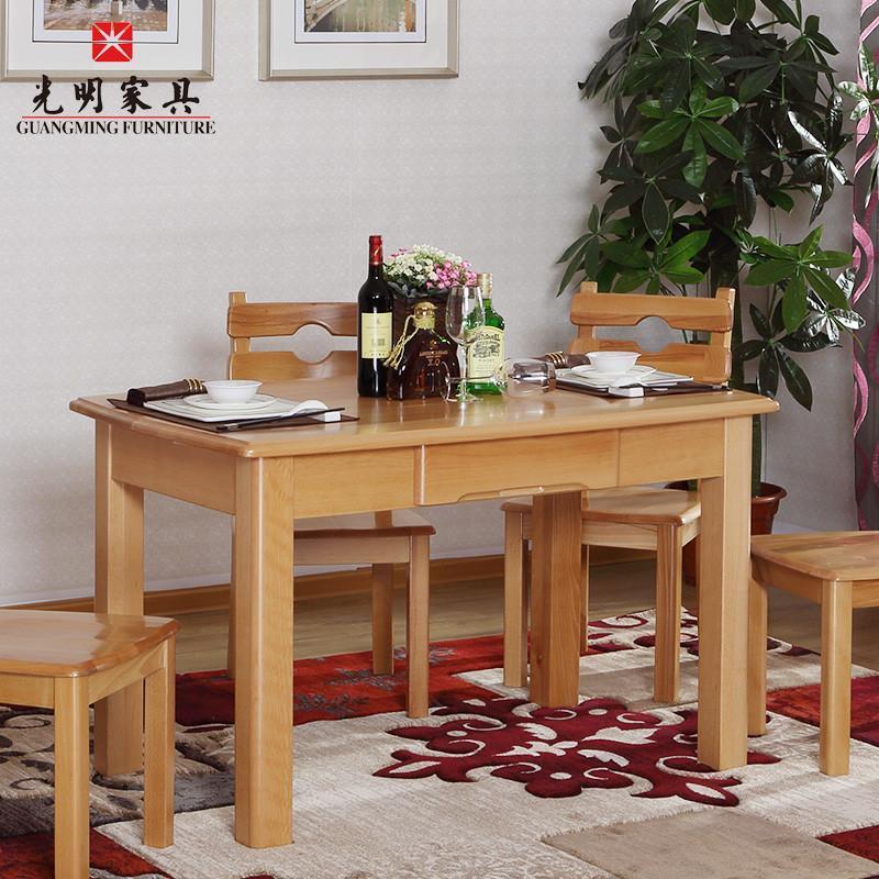 光明实木家具 舌尖上的美食桌 椅组合 特惠木质餐桌 实木餐桌椅 一桌