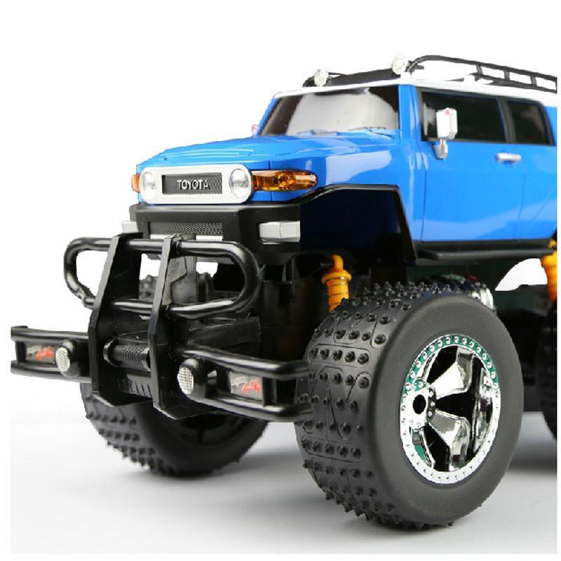 儿童玩具遥控车 丰田酷路泽大轮车 越野车1:10超大车型 遥控车模 黄蓝