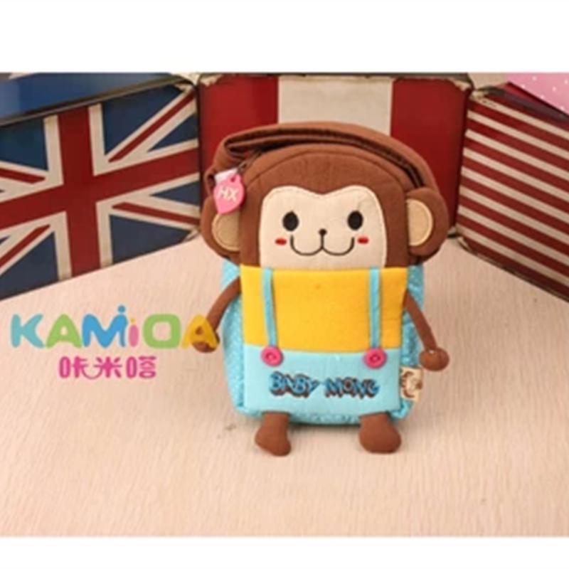 可爱女童韩版卡通儿童斜挎包宝宝幼儿包包卡通小挎包儿童包背包棕色