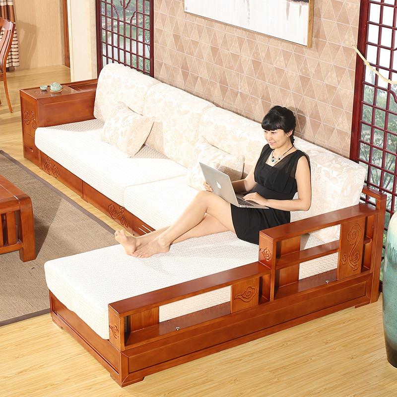 【禾辰家具旗舰店沙发】禾辰现代中式实木组合沙发储