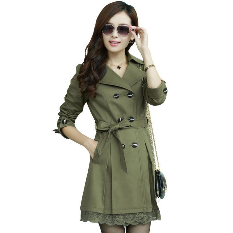 憶姿美 20115春秋裝新款女裝 韓版修身蕾絲花邊雙排扣中長款風衣外套圖片
