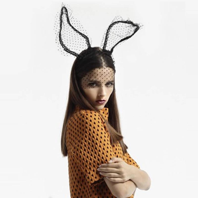 发圈发卡面纱面具面罩夜店性感兔女郎时尚头饰品派对