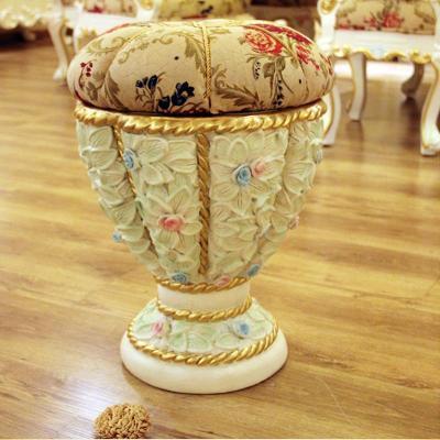法丽莎家具g3贵族新古典彩绘梳妆凳子欧式圆凳实木梳妆凳特价8802 圆