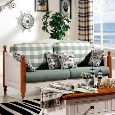 美式乡村地中海风格布艺沙发图片
