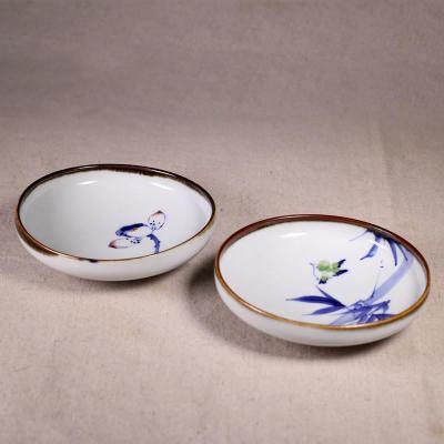 百工制器 瓷戏 手绘陶瓷小菜碟厨房多用小盘子零食调料小碟子 雀戏竹