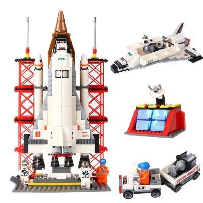 儿童塑料拼装拼插媲美乐高积木遨游太空宇宙飞船航天飞机