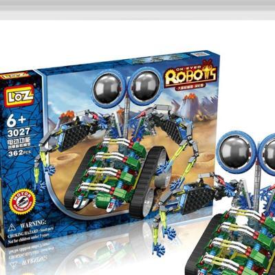 拼装电动积木 loz变形机兽大眼机器人震地兽涡轮兽