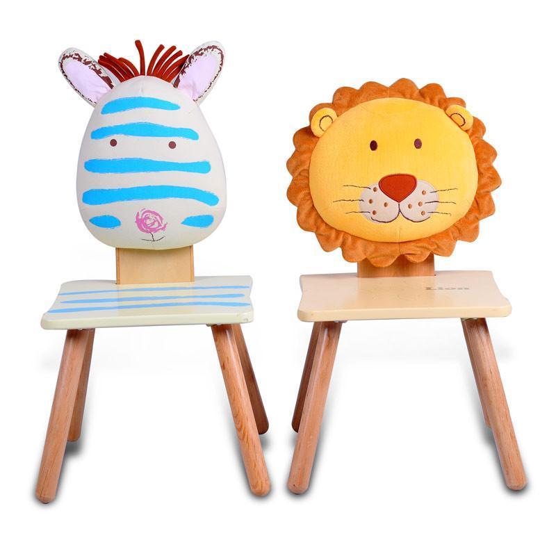 哈喜屋儿童家具宝宝凳可爱卡通动物靠背椅实木宝宝椅子安全环保 狮子