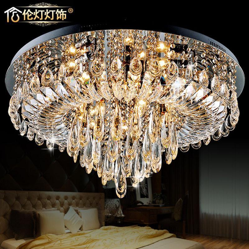 伦灯led欧式奢华水晶灯艺术吸顶灯客厅灯水晶灯 创意卧室灯5298/80cm
