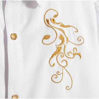 just-long 2015春季新款男士韩版修身刺绣单色长袖衬衫 白色 m