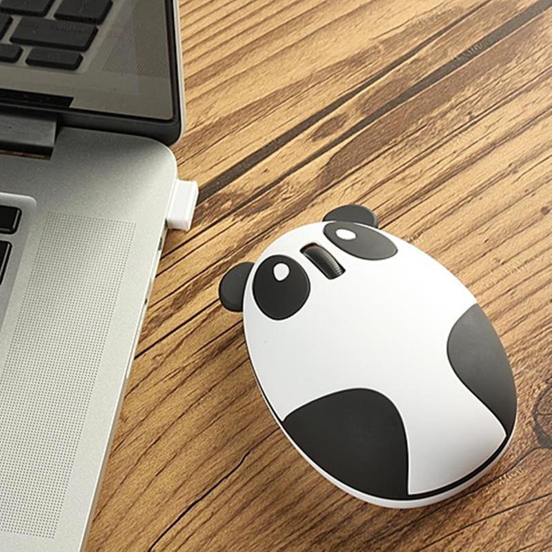 趣玩 创意usb熊猫鼠标 可充电无线鼠标(磨砂白色) 磨砂白色